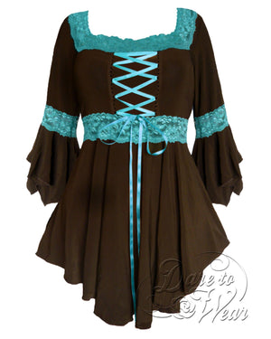 Dare Fashion Renaissance Top F05 BrownTurquoise Victorian Gothic Corset Blouse