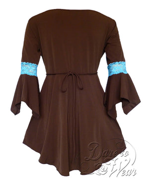 Dare Fashion Renaissance Top F05 BrownTurquoiseB Victorian Gothic Corset Blouse