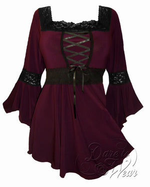 Dare Fashion Renaissance Top F05 Burgundy Victorian Gothic Corset Blouse