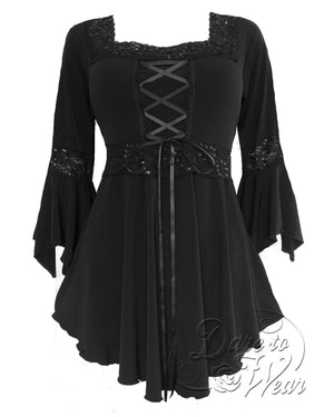 Dare Fashion Renaissance Top F05 Obsidian Victorian Gothic Corset Blouse
