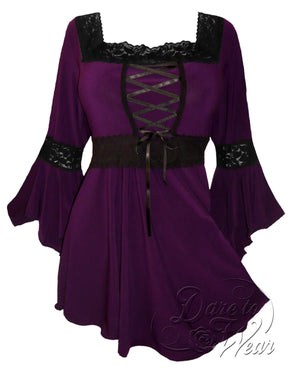 Dare Fashion Renaissance Top F05 Plum Victorian Gothic Corset Blouse