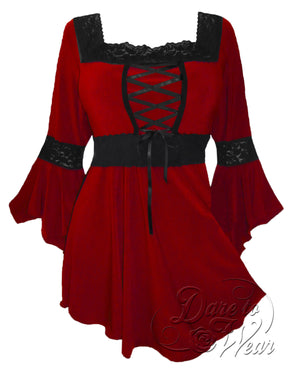 Dare Fashion Renaissance Top F05 Vermillion Victorian Gothic Corset Blouse