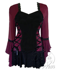 Dare Fashion Bolero Top F29 Burgundy Victorian Steampunk Lace Corset Blouse