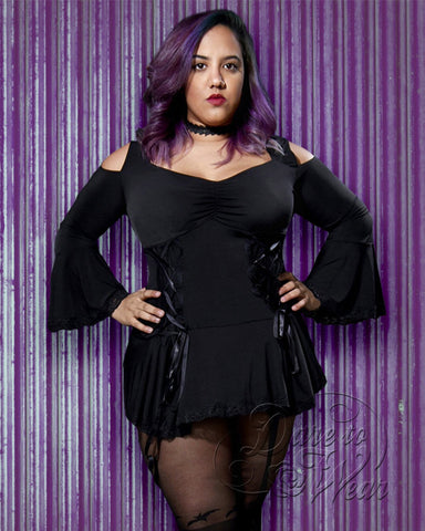 Dare Fashion Temptation Top F45 Black JacPurpTin Gothic Victorian Corset Tunic