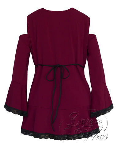 Dare Fashion Temptation Top F45 BurgundyB Gothic Victorian Corset Tunic