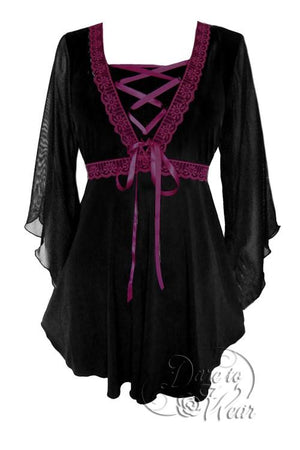 Bewitched Top in Black/Burgundy