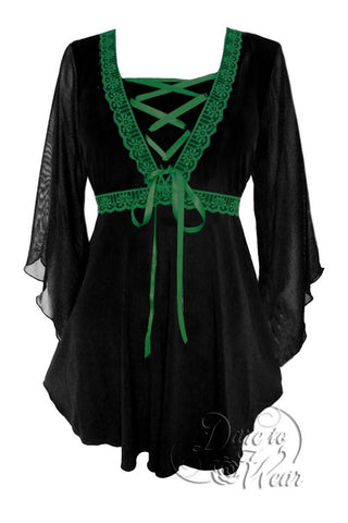 Bewitched Top in Black/Emerald