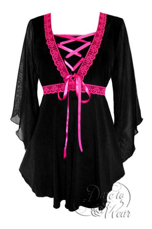 Bewitched Top in Black/Fuschia