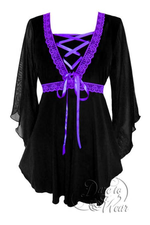Bewitched Top in Black/Purple