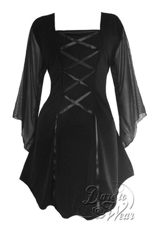 Dare To Wear Victorian Gothic Women's Plus Size Mandarin Corset Top Black