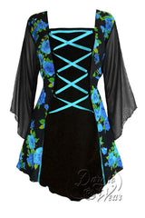 Dare To Wear Victorian Gothic Women's Plus Size Mandarin Corset Top Teal Rose