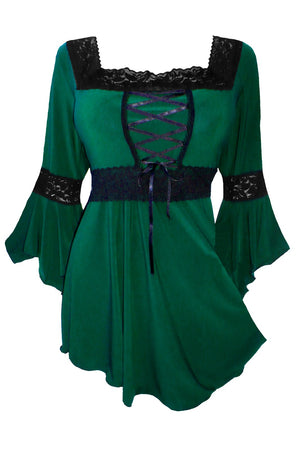 Dare to Wear Victorian Gothic Steampunk Renaissance Corset Top in Envy