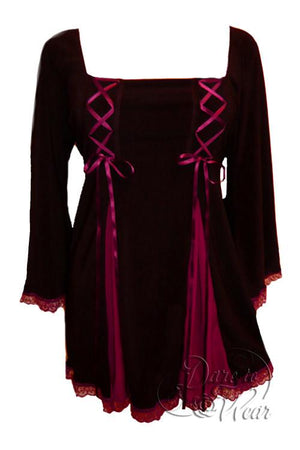 Dare To Wear Victorian Gothic Women's Gemini Princess Corset Top Black/Burgundy