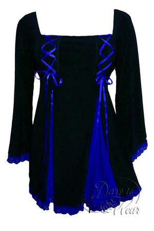 Dare To Wear Victorian Gothic Women's Gemini Princess Corset Top Black/Royal