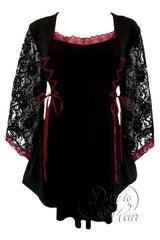 Dare To Wear Victorian Gothic Women's Plus Size Anastasia Corset Top Black/Burgundy