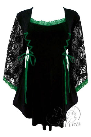 Dare To Wear Victorian Gothic Boho Women's Plus Size Anastasia Corset Top Black/Emerald
