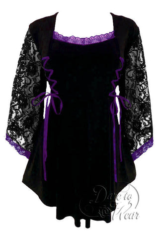 Dare To Wear Victorian Gothic Women's Plus Size Anastasia Corset Top Black/Purple