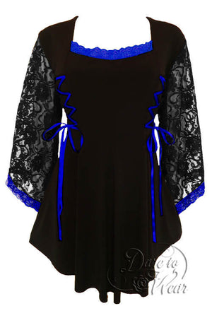 Dare To Wear Victorian Gothic Women's Plus Size Anastasia Corset Top Black/Royal