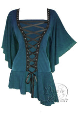 Dare To Wear Victorian Gothic Women's Alchemy Corset Top Blue Jade