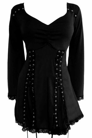 Dare to Wear Victorian Gothic Steampunk Electra Corset Top in Raven Black