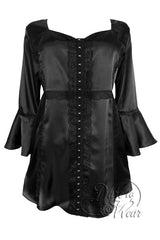 Dare To Wear Victorian Gothic Women's Plus Size Enchanted Top in Onyx