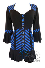 Dare To Wear Victorian Gothic Women's Cabaret Corset Top Blue Vertigo