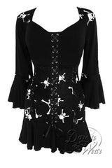 Dare To Wear Victorian Gothic Women's Cabaret Corset Top Jolly Roger