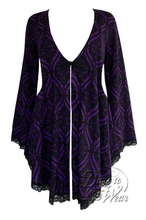 Dare To Wear Victorian Gothic Women's Plus Size Embrace Corset Sweater Purple Tarot