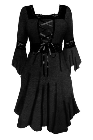 Dare to Wear Victorian Gothic Renaissance Corset Dress, Black Rain