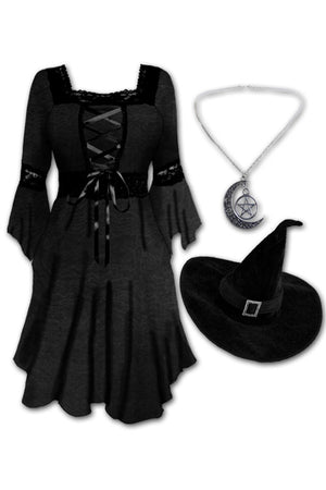 Dare to Wear Victorian Gothic Steampunk Magick Witch Costume with Renaissance Dress, Black Rain