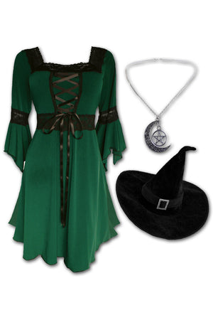 Dare to Wear Magick Witch Costume with Renaissance Dress in Envy