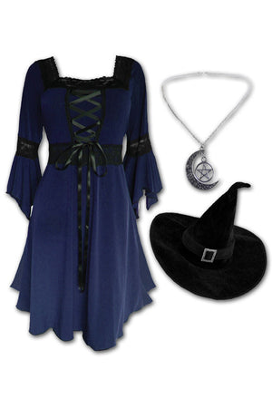 Dare to Wear Magick Witch Costume with Renaissance Dress in Midnight