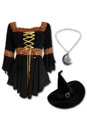 Dare to Wear Victorian Gothic Steampunk Spellcaster Witch Costume with Renaissance Top, Black/Gold