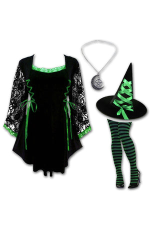 Dare to Wear Victorian Gothic Steampunk Enchantress Witch Costume with Anastasia Top, Emerald