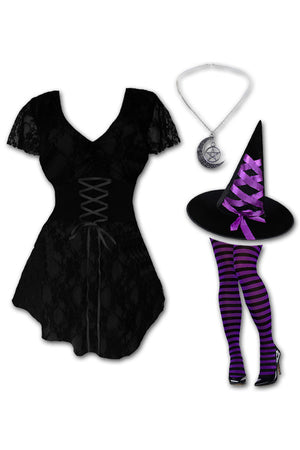 Dare to Wear Victorian Gothic Steampunk Enchantress Witch Costume with Sweetheart Top, Purple