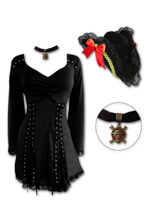 Dare to Wear Victorian Gothic Steampunk Corsair Pirate Costume with Electra Top, Raven