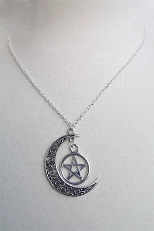 Crescent Moon and Pentagram Necklace