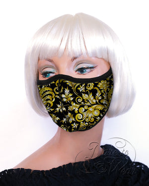 Dare Fashion Myriad Mask M01 Baroque Gold Victorian Gothic Cloth Face Cover