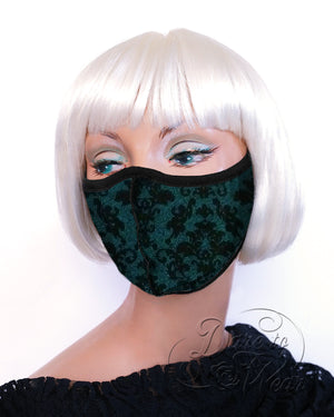 Myriad in Cypress | Forest Green Tweed Victorian Print Mask