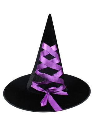 Halloween Witch Hat in Black/Purple
