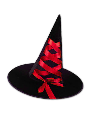 Black Velour Witch Hat with Red Ribbon