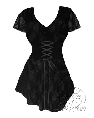 Dare Fashion Sweetheart Top S09 Black Victorian Gothic Corset Chemise