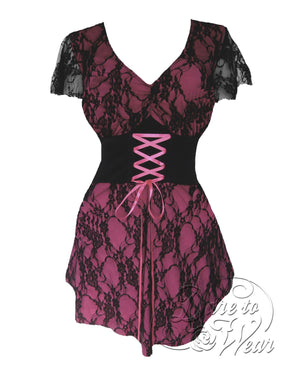 Dare Fashion Sweetheart Top S09 Pink Victorian Gothic Corset Chemise