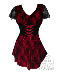 Dare Fashion Sweetheart Top S09 Wine Victorian Gothic Corset Chemise