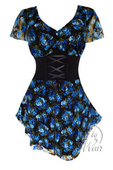 Dare To Wear Victorian Gothic Women's Plus Size Printed Sweetheart Corset Top Blue Dream