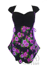 Dare To Wear Victorian Gothic Women's Cinch Corset Top Purple Rose