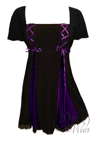 Dare To Wear Victorian Gothic Women's Gemini Princess S/S Corset Top Black/Purple