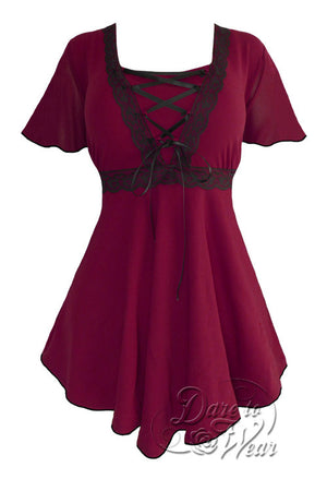 Dare To Wear Victorian Gothic Women's Plus Size Angel Corset Top Burgundy/Black