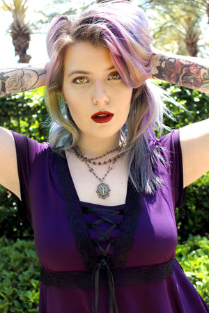 Summer in Victorian Gothic Angel Corset Top in Plum
