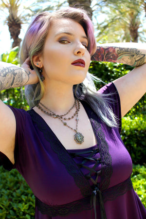 Summer in Victorian Gothic Dare Fashion Angel Corset Top in Plum